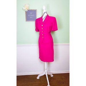 80's Hot Pink Virgo II Career Skirt Suit Set
